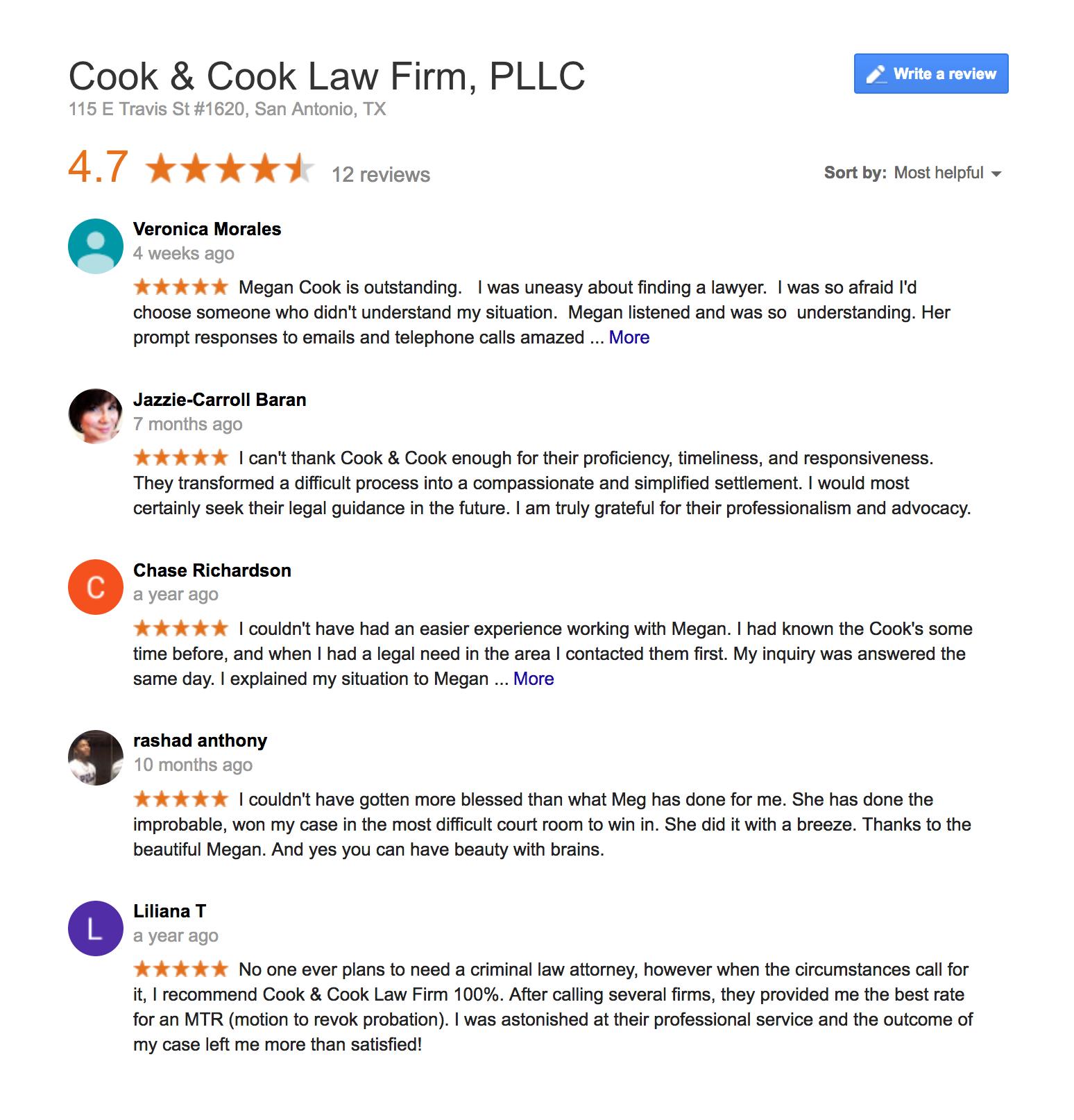 Cook & Cook Law Firm reviews san antonio