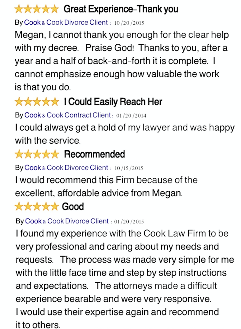 Cook & Cook texas divorce reviews