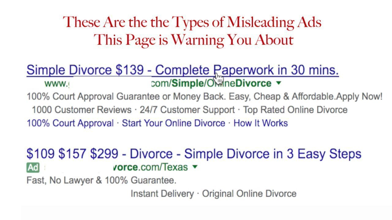 online divorce scam texas